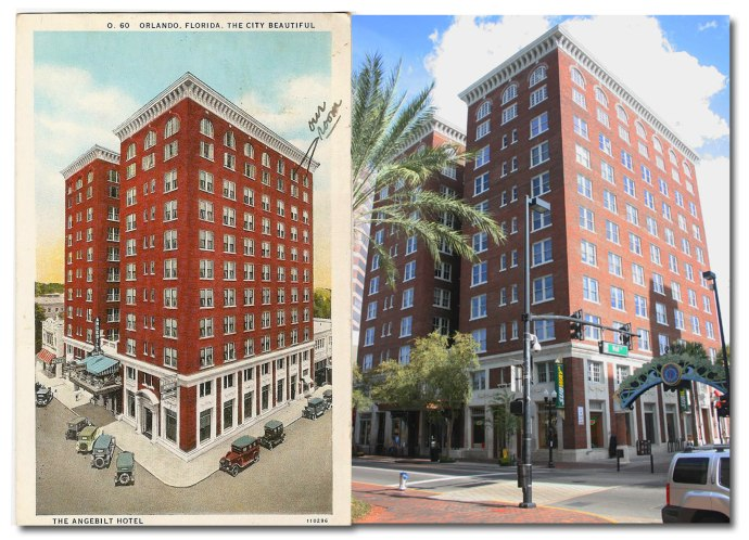 The Angebilt Hotel in the 1930's and the building today.