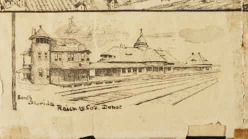 From 1890 Map of Orlando: Line Drawing of Church Street Train Depot