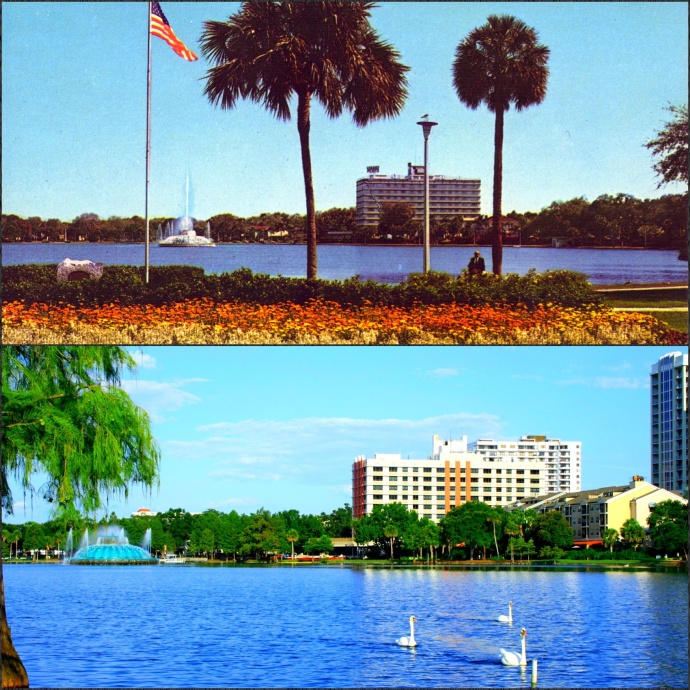 Top: Cherry Plaza Hotel in the 1950 Bottom: Post Parkside Aparments in 2013