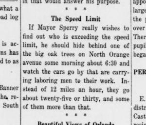 An Orlandoan gives Mayor Sperry advice on cars speeding down Orange Ave. Morning Sentinel - Jan 9 1914