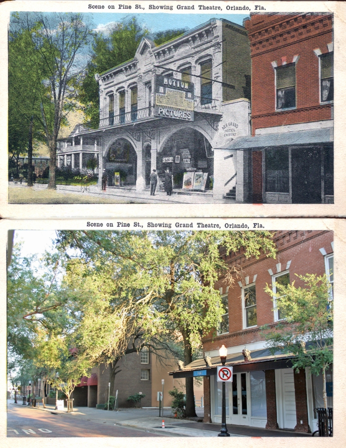 Top: Grand Theatre - circa 1915 Bottom: The site today is mostly a parking lot - 2013