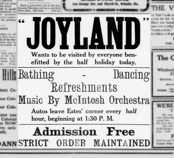 A Joyland ad from a 1915 edition of the Morning Sentinel
