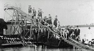 Water slide at Joyland on Lake Ivanhoe in the 1910's.