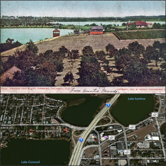 A postcard showing the Ivanhoe Pinery, and a Google map image of the scene today.