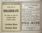 "An advertisement in late 1936 in the Rollins College paper ""Sandspur"" invited students to the Carolina Moon for roller skating."