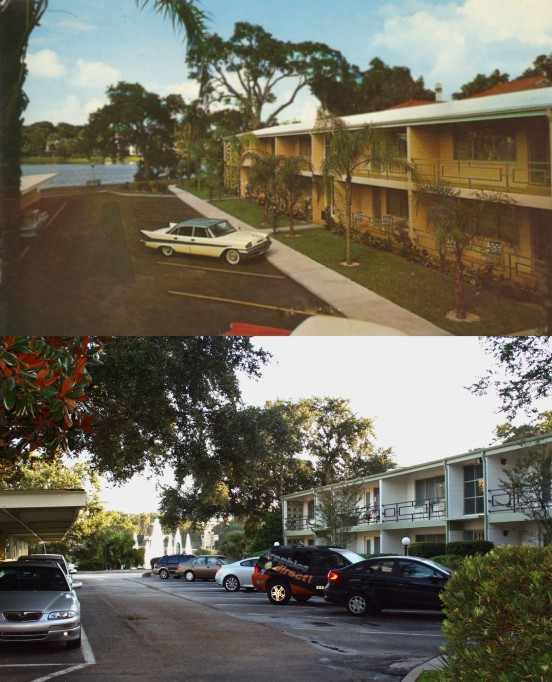 Top: 1950's Bottom: 2014 Lucerne Garden Apartments have changed little, while the view changed substantially.