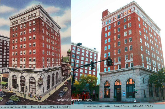 Left:  After 1930, Florida National Bank operated a 1 North Orange Ave. Right:  Today the original State Bank of Orlando and Trust Company is visible.
