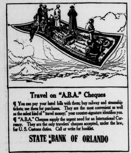 An ad for travels checks that ran 100 years ago this week (Morning Sentinel, 4/14/1914)