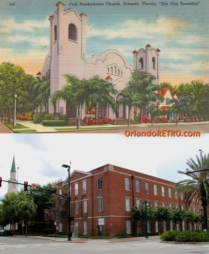 Top:  First Presbyterian Church of Orlando, circa 1920-40 Bottom: Yowell Hall on Presbyterian church campus, 2014