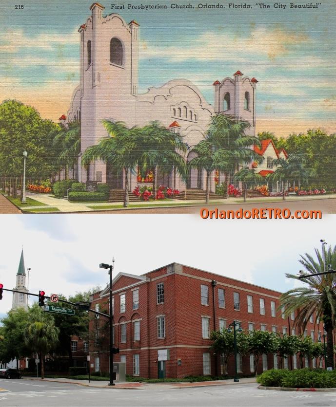 Top:  First Presbyterian Church of Orlando, circa 1920-40 Bottom: Yowell Hall on Presbyterian church campus, 2014