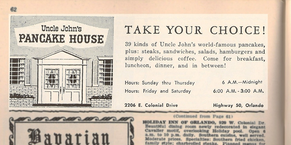 Orlando Retro Advertisement: 1967 -- Uncle John's Pancake House